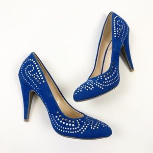 ☀️ Blue Heels with Silver Studs